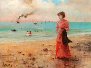 Stevens_Alfred_Jeune_femme_a_l_ombrelle_rouge_au_bord_de_la_mer_c1885_Oil_On_Canvas