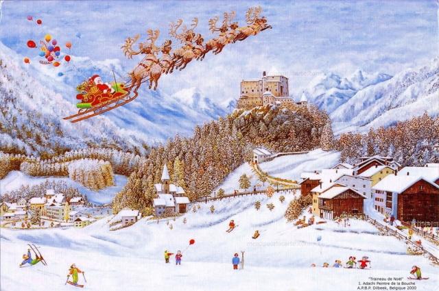 Traîneau de Noël - Le Père Noël sur son traîneau tiré par les rennes vole dans le ciel au-dessus d'un village de montagne où les enfants jouent et skient - 1999